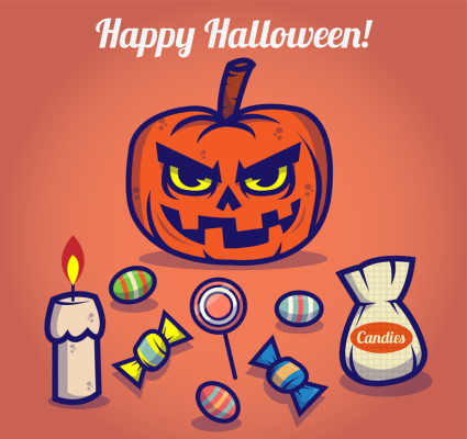 9 cartoon Halloween-Element Vektor-Material