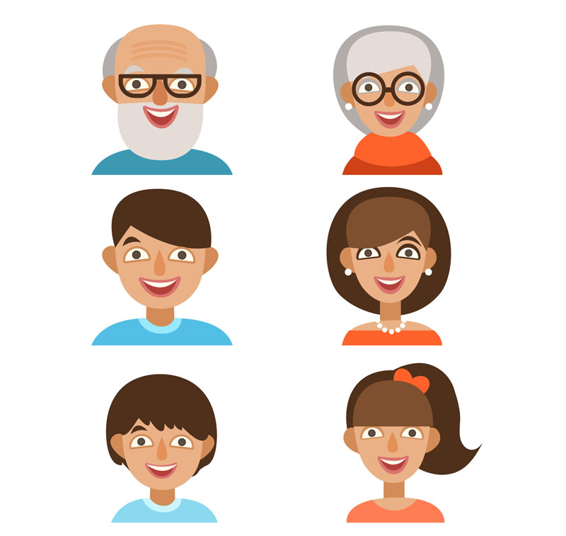 6 Vector Cartoon Familienmitglied Avatar