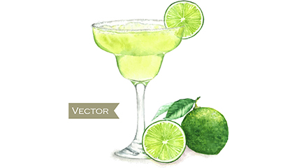 Green Lemon Cocktail Vektor-Material