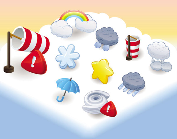 Cartoon weather icon 03 - Vektor Material